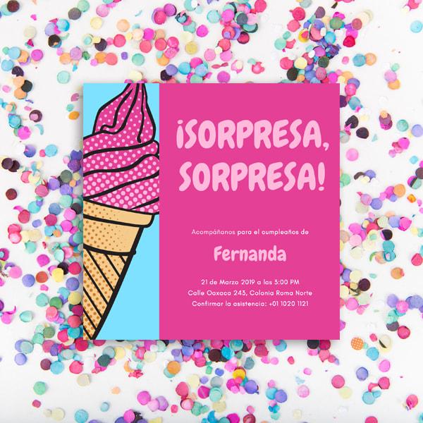 Fiesta Sorpresa - Pink and Blue Ice Cream Surprise Party Invitation