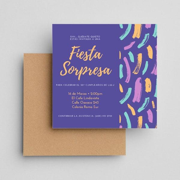 Fiestas Sorpresa - Blue Pink Yellow Handwritten Floral First Birthday Invitation (1)