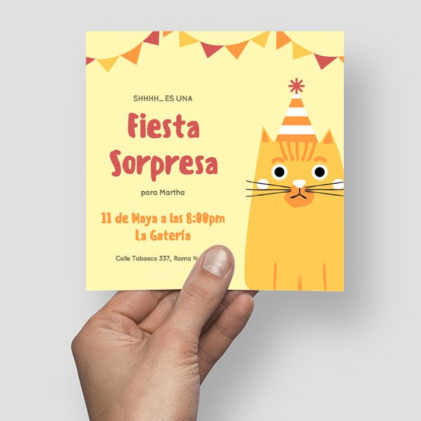 Fiesta Sorpresa - Red and Orange Cat with Party Hat Surprise Party Invitation