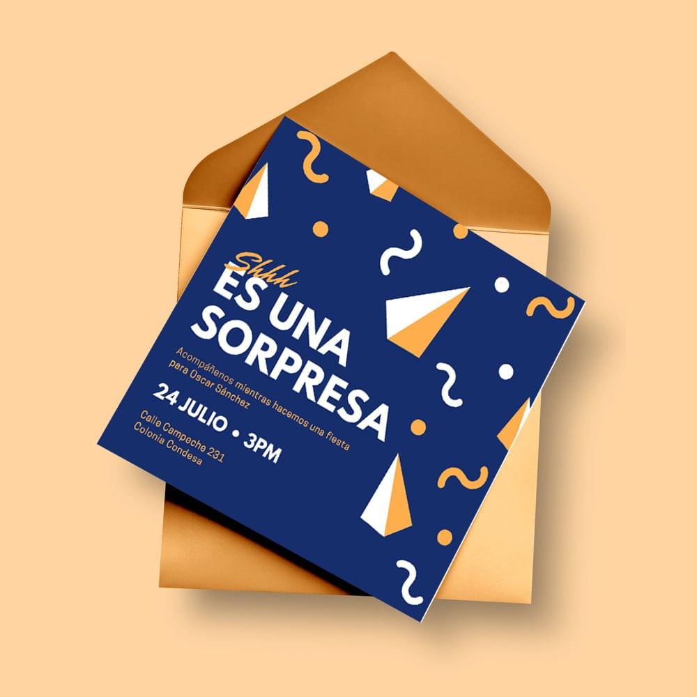 Fiesta Sorpresa - Blue Yellow Surprise Party Invitation