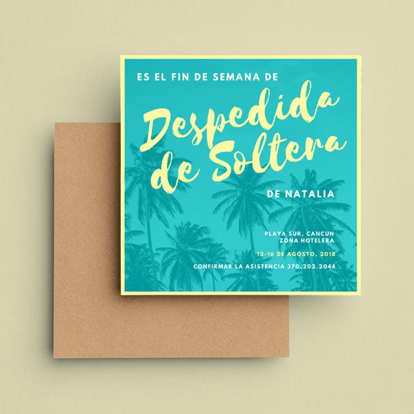 Despedida de Soltera -Palm Trees Bachelorette Party Invitation (1)