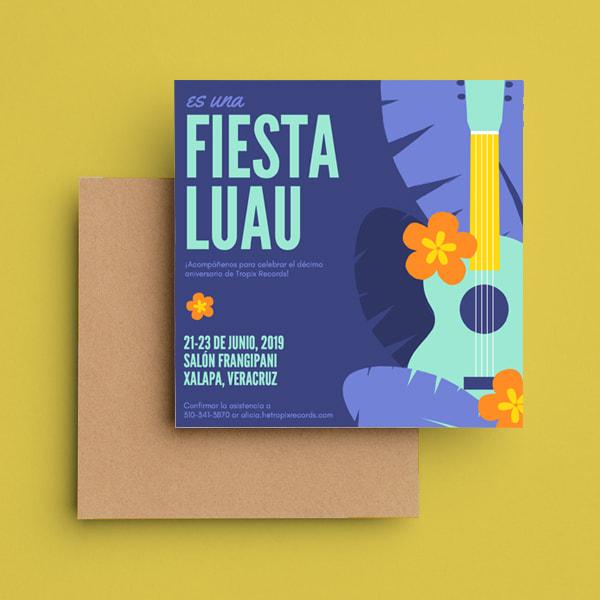 Fiesta - Violet Guitar and Hibiscus Luau Invitation