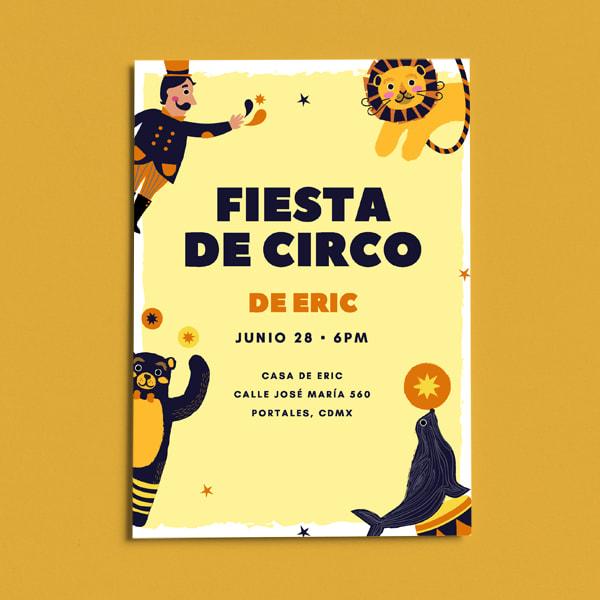 Fiestas Infantiles - Yellow Circus Staffs Circus Invitation Portrait (1)