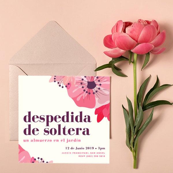 Fiesta - Peach Pink Purple Floral Bridal Shower Luncheon Invitation