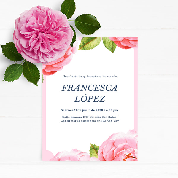Fiesta - Quinceanera-Pink-and-White-Watercolour-Flower-Quinceanera-Invitation