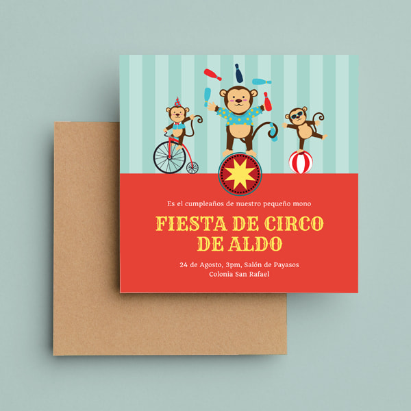 Fiestas Infantiles - Red and Cyan Circus Monkey Circus Invitation (1)