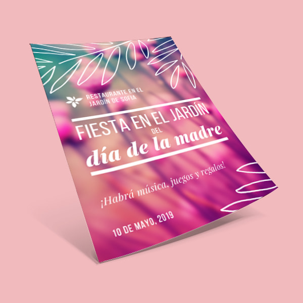 Fiesta - Pink & White Text On Blurred Floral Background Mother's Day Event Flyer