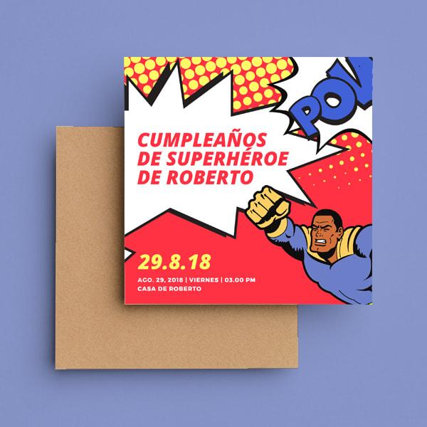 Fiestas Infantiles - Red and Yellow Comic Superhero Invitation