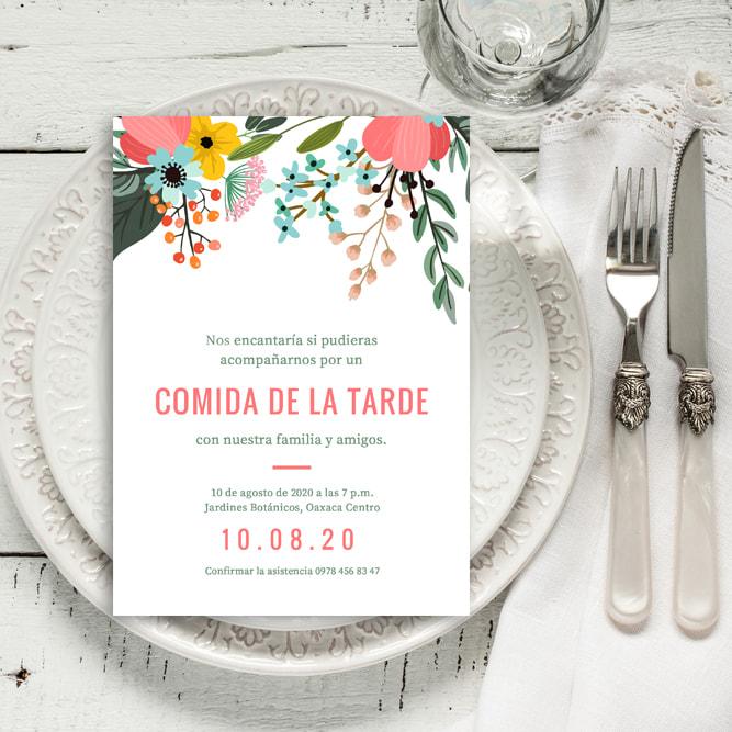 Fiesta - Pink and Green Floral Garden Luncheon Invitation