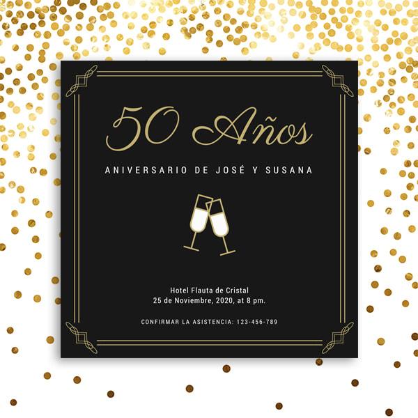 Aniversario - Black Bordered 50th Anniversary Invitation