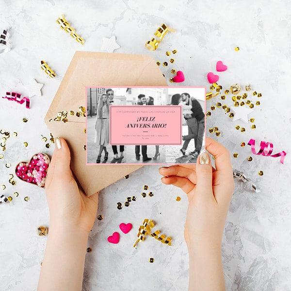 Aniversario - Pink Grey Monochrome Photo Collage Anniversary Card