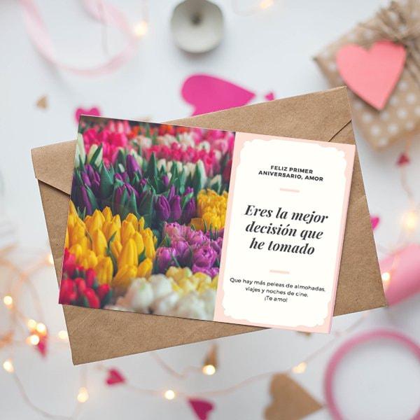 Aniversario - Peach and Cream Fancy Photo Anniversary Card