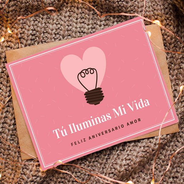 Aniversario - Pink Heart Light Bulb Anniversary Card