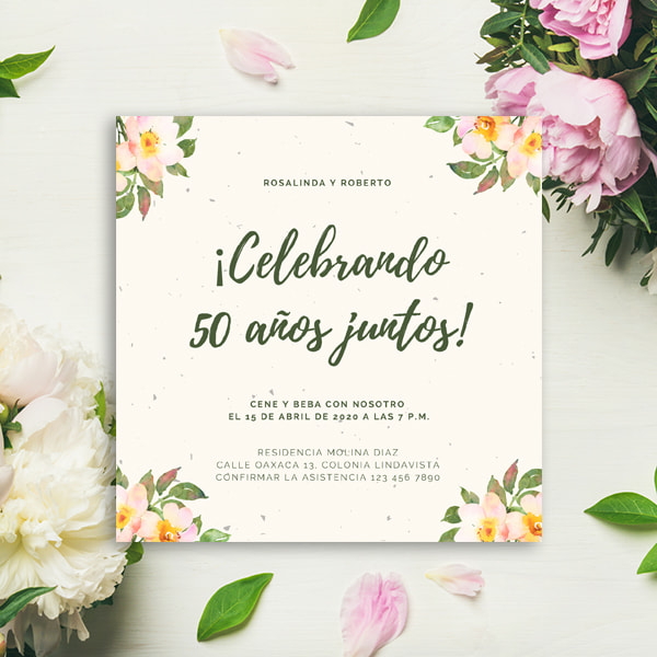 Aniversario - Cream Flowers 50th Anniversary Invitation