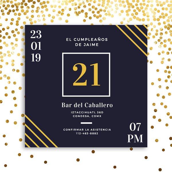 Cumpleaños Novio - Dark Blue Beer 21st Birthday Invitation