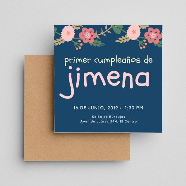 Fiestas Infantiles - Blue Pink Yellow Handwritten Floral First Birthday Invitation