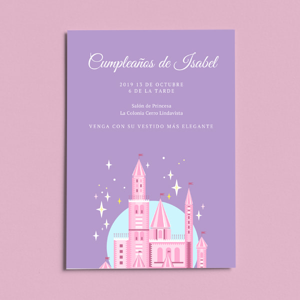 Fiestas Infantiles -Purple with Pink Castle Graphic Princess Invitation (portrait)