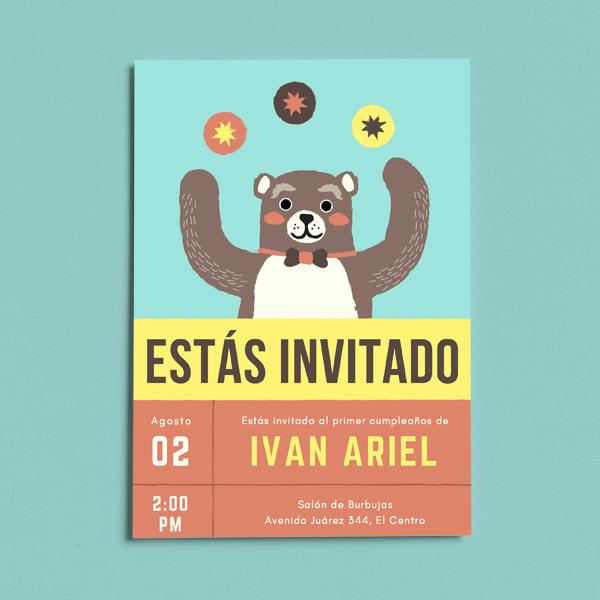 Fiestas Infantiles - Blue Circus Juggling Bear First Birthday Invitation (Portrait)