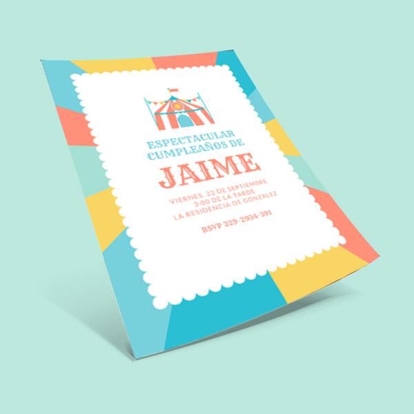 Fiestas Infantiles - Yellow Pink Blue Burst Carnival Circus Tent Birthday Invitation Portrait (1)