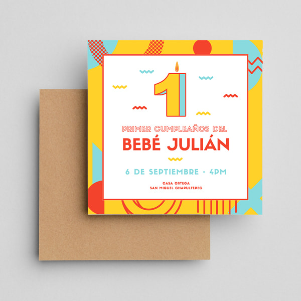 Fiestas Infantiles-Yellow-Playful-1st-Birthday-Invitation