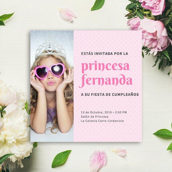 Fiestas Infantiles - Pink Pattern with Photo Princess Invitation