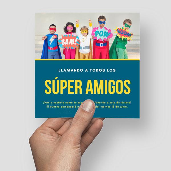 Fiestas Infantiles - Blue and Yellow Superhero Invitation
