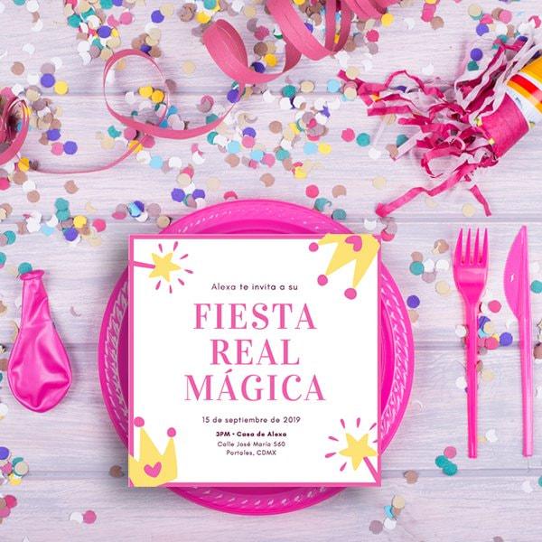 Fiestas Infantiles - Pink and Yellow Princess Invitation