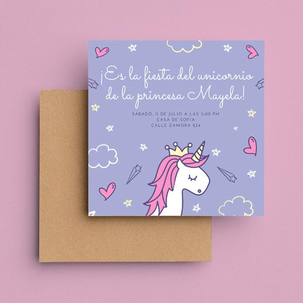 Unicornios - Purple Unicorn Princess Party Invitation
