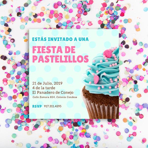 Dulces - Cupcake Party Polkadot Invitation (1)