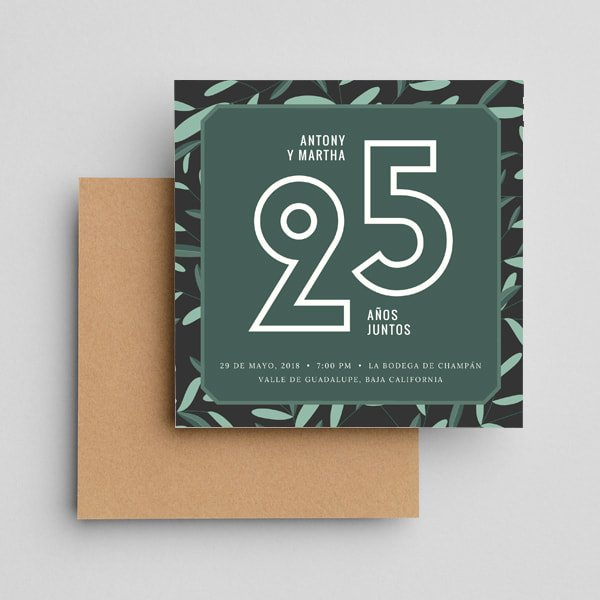 Aniversario - Illustrated Foliage Anniversary Invitation
