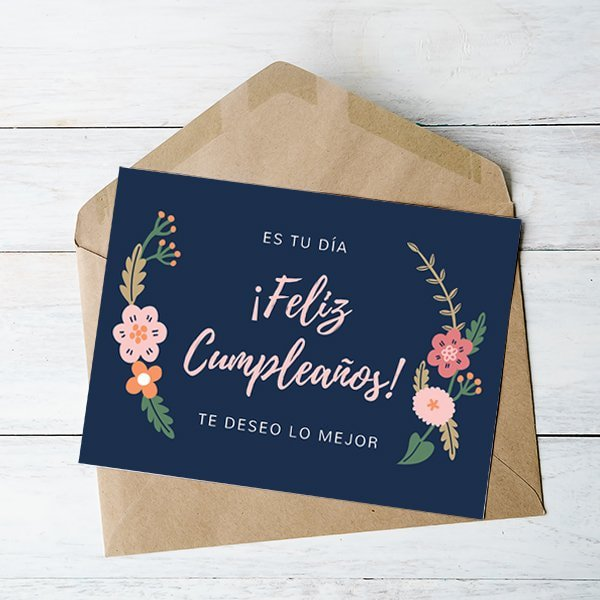 Cumpleanos-Navy-Blue-Floral-Birthday-Card