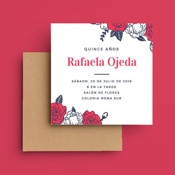 Quinceanera - Red Roses Quinceañera Invitation