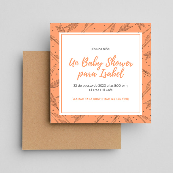 Baby-Showers-Orange-Patterned-Arrows-Boho-Baby-Shower-Invitation