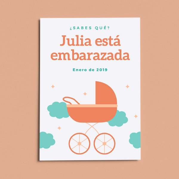 Embarazo - Blue and Orange Crib Pregnancy Announcement