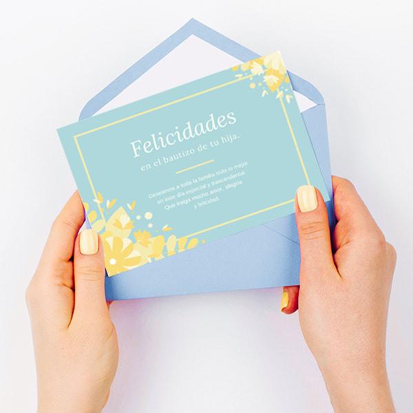 Bautizo- Floral-Baptism-Card