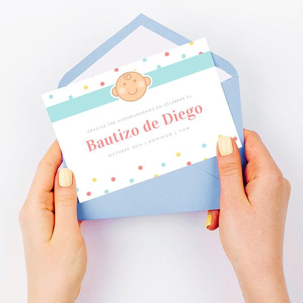 Bautizo-Blue-Yellow-Red-Polka-Dots-Baby-Illustration-Christening-Thank-You-Card