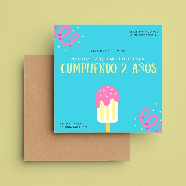 Dulces - Blue and Pink Cute Ice Cream Birthday Party Invitation