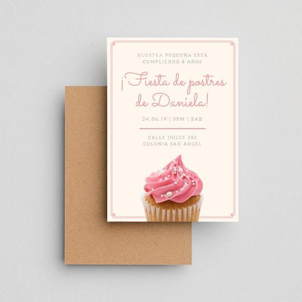 Dulces - Dainty Pink Cupcake Dessert Party Invitation Portrait