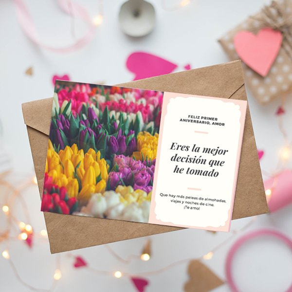 Aniversario - Peach and Cream Fancy Photo Anniversary Card (3)