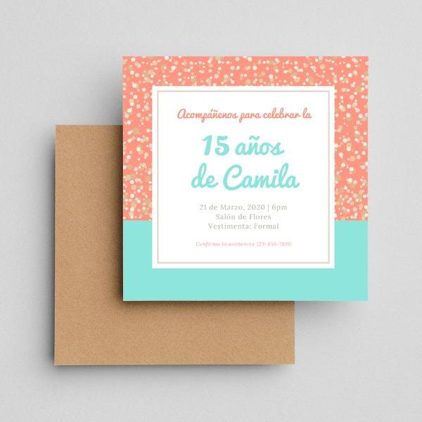 Quinceanera - Teal Coral Glitter Sequins Quinceanera Invitation