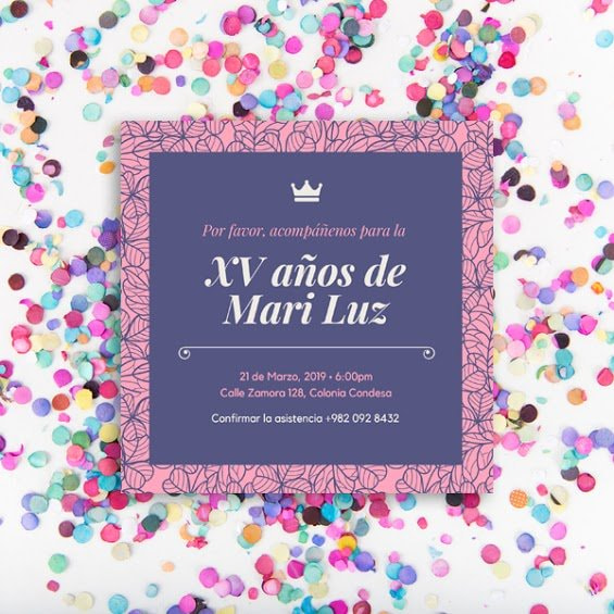 Quinceanera - Purple and Pink Floral Patterned Quinceañera Invitation