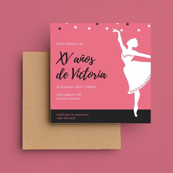 Quinceanera - Pink Illustrated Princess Quinceañera Invitation