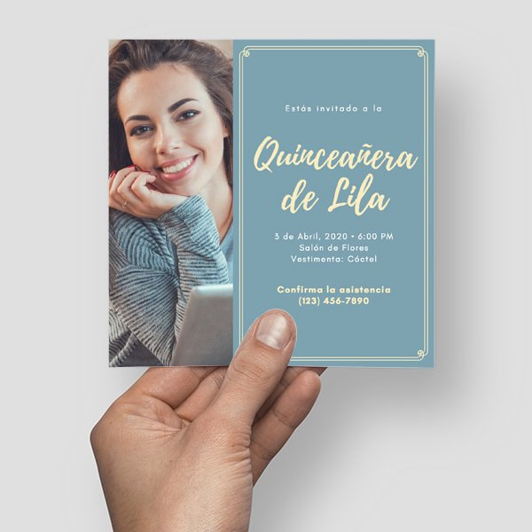 Quinceanera - Light Blue and Yellow Woman Bordered Quinceañera Invitation