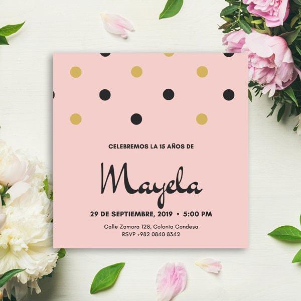 Quinceanera - Pink Dots Quinceañera Invitation