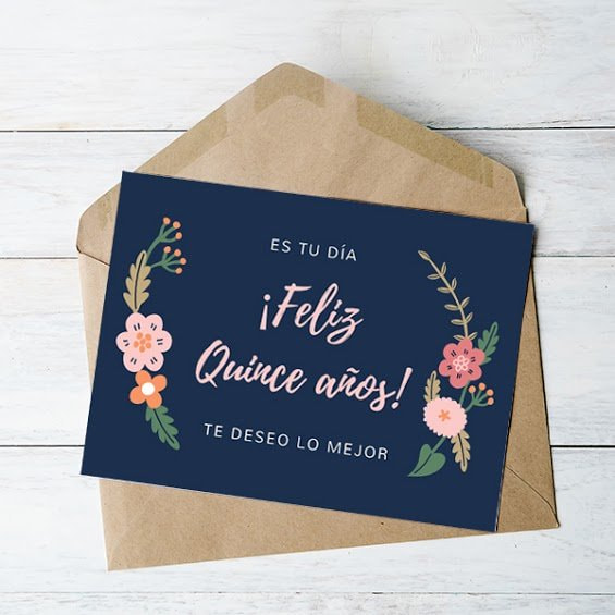 Quinceanera - Navy Blue Floral Birthday Card