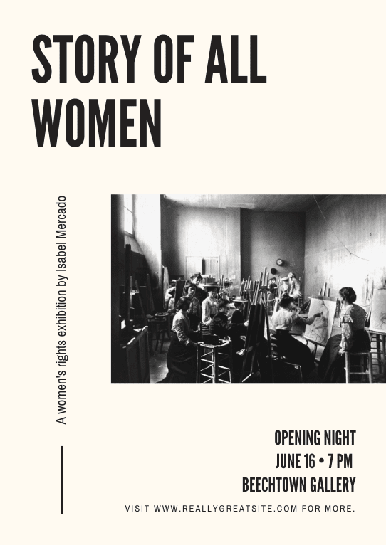 Print event poster - Cream Abstract Women's Rights