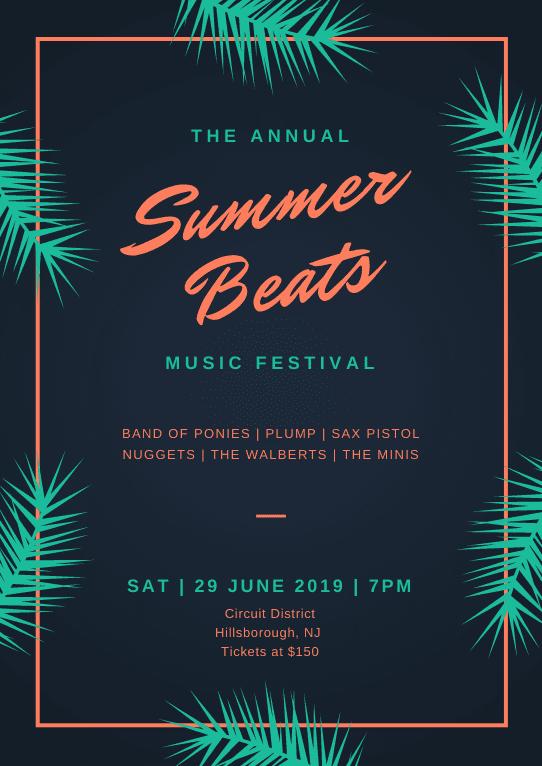 Print Music poster - Dark Blue Summer Music Festival