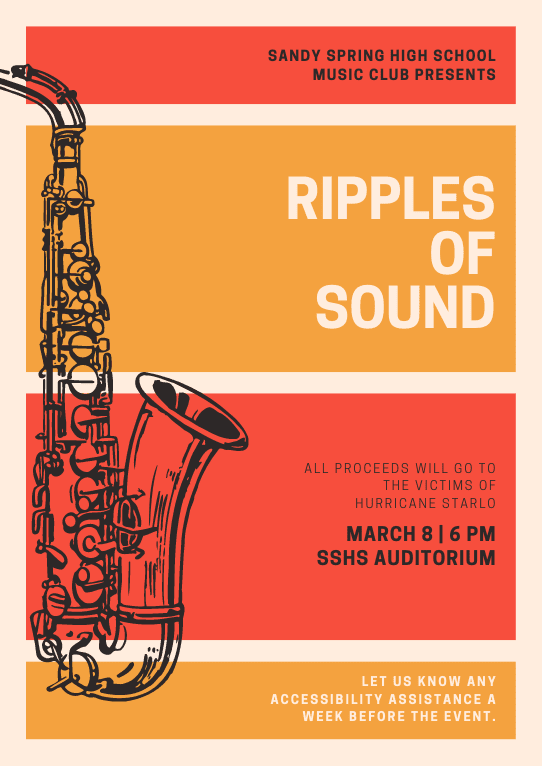 Print concert poster - Orange and Red Illustrated Saxophone Jazz Event Poster