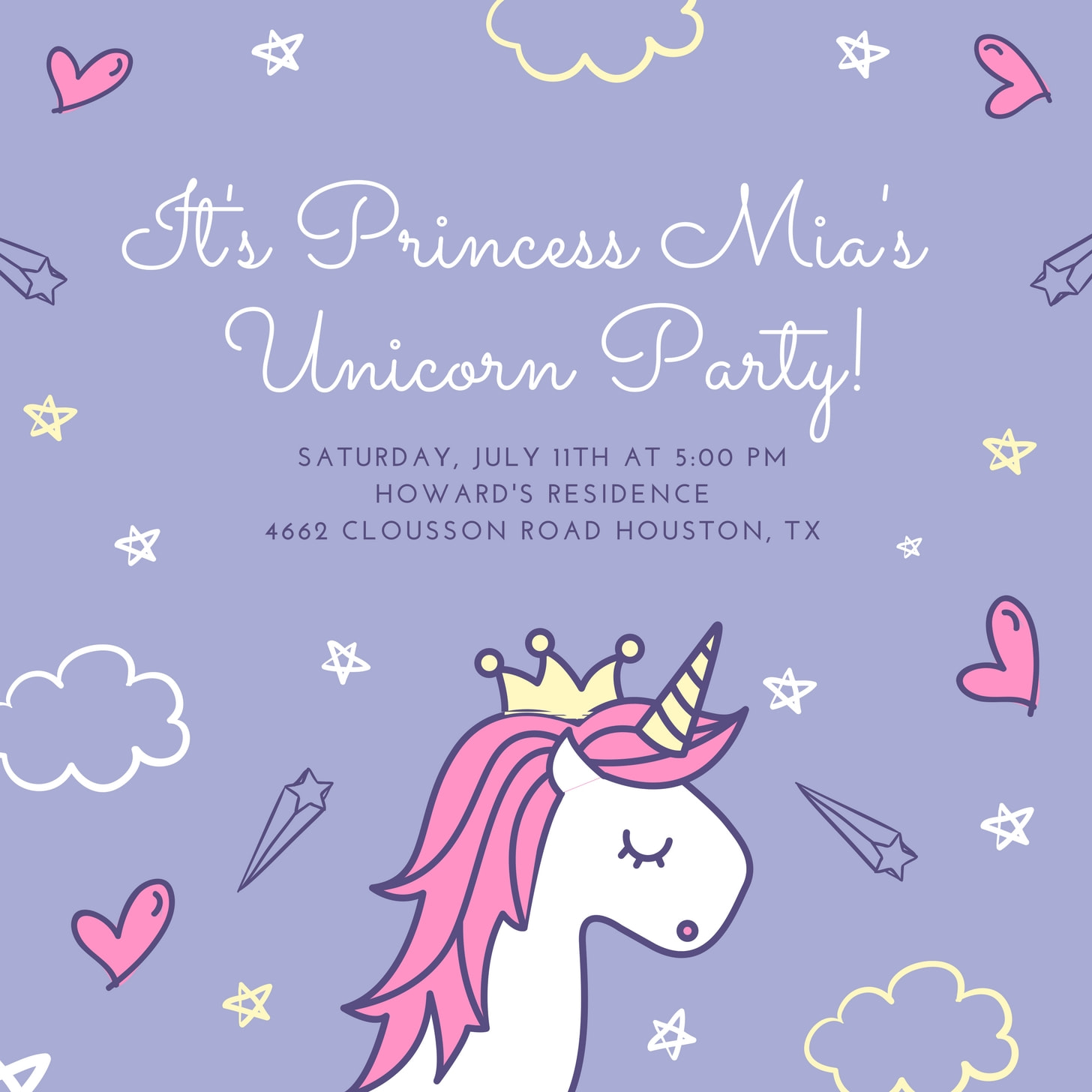 Purple Unicorn Princess Party Invitation