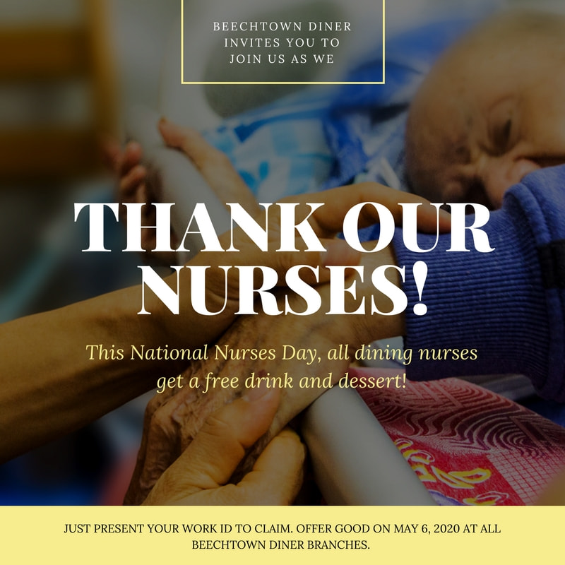 Yellow and White Text Overlay National Nurses Day Social Media Graphic